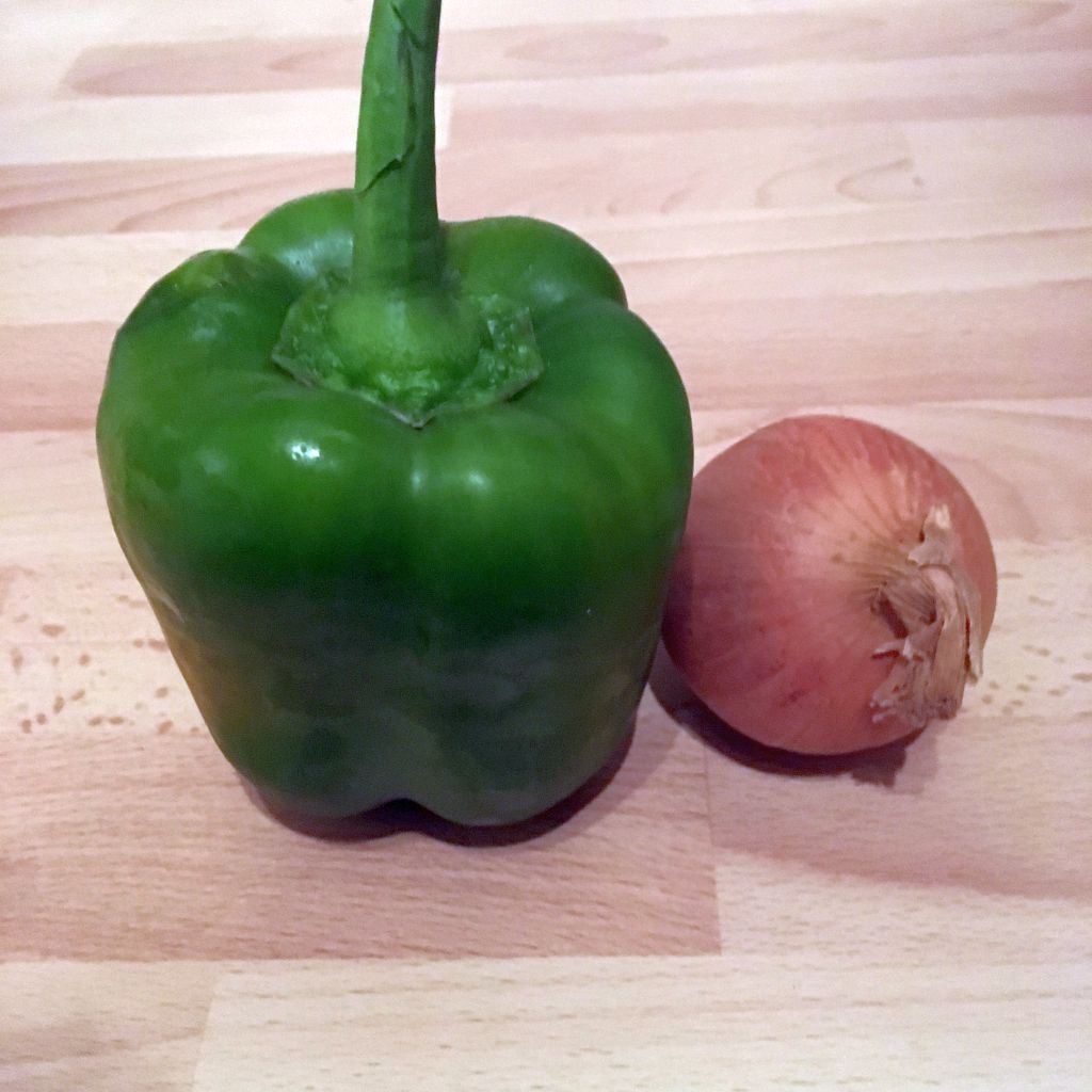 Green pepper and onion