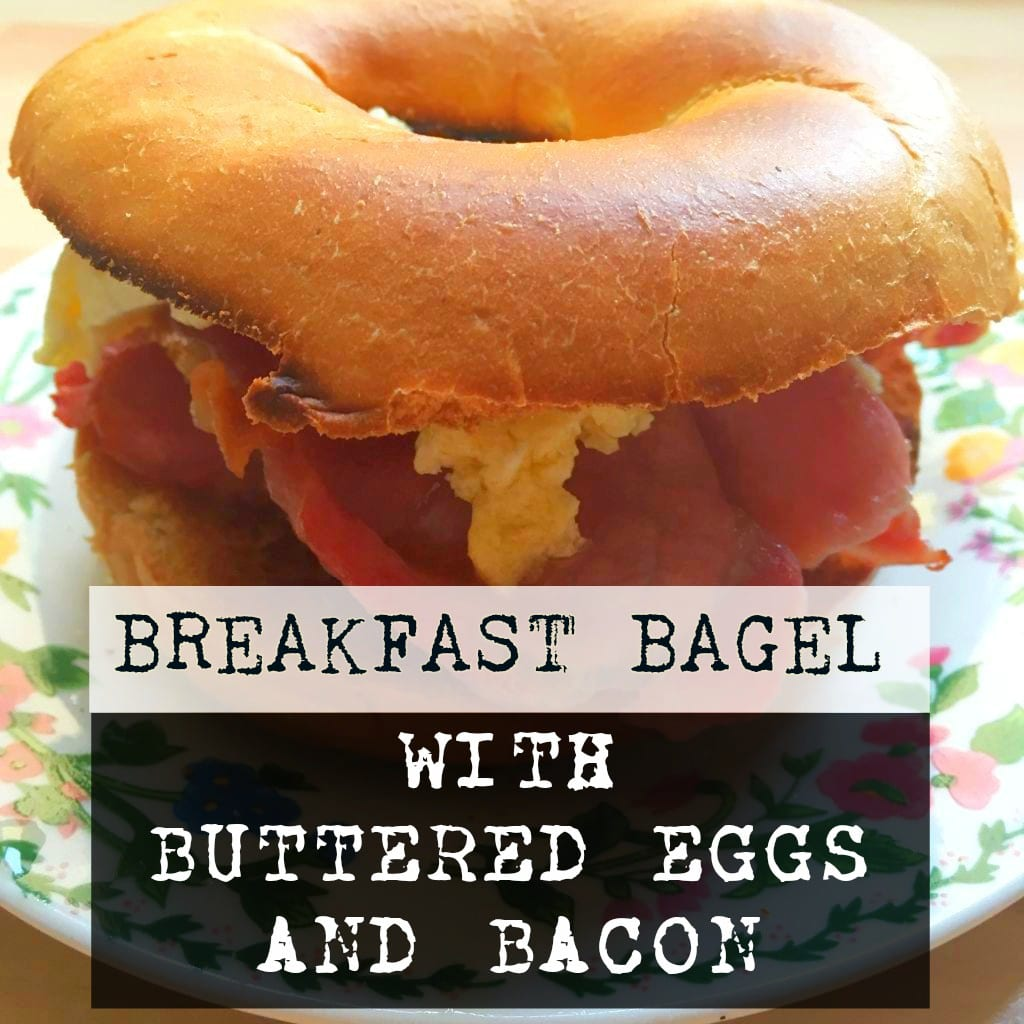 Breakfast Bagel with Buttered Eggs and Bacon. This #recicember entry contains a recipe for buttered eggs! #victorian #cooking #bacon #scrambledeggs #homemade #homemadefood #homecooking