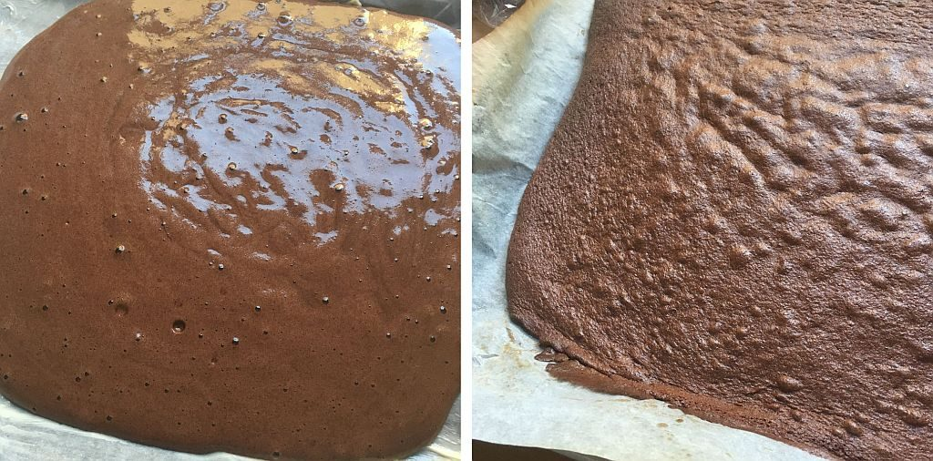 Baking the chocolate yule log