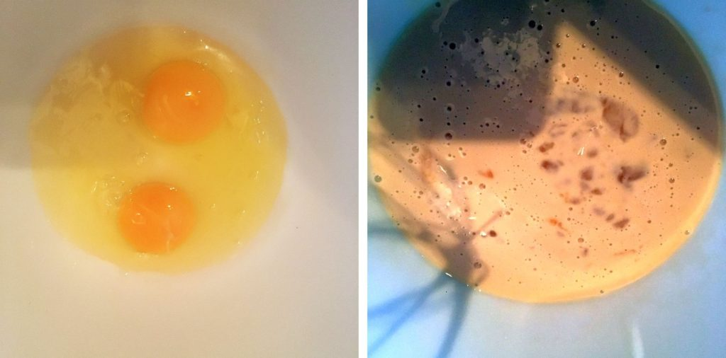 Mixing the eggs and evaporated milk